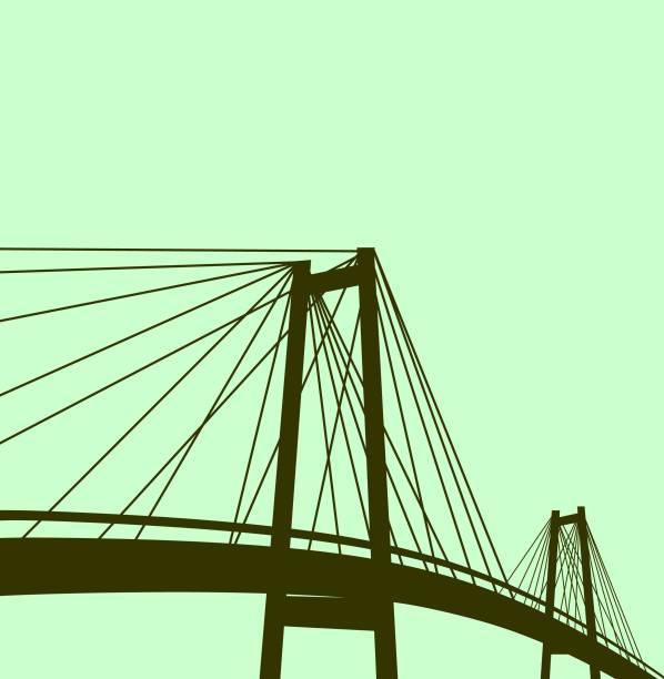 silhouette of bridge illustrstion - bridge stock illustrations