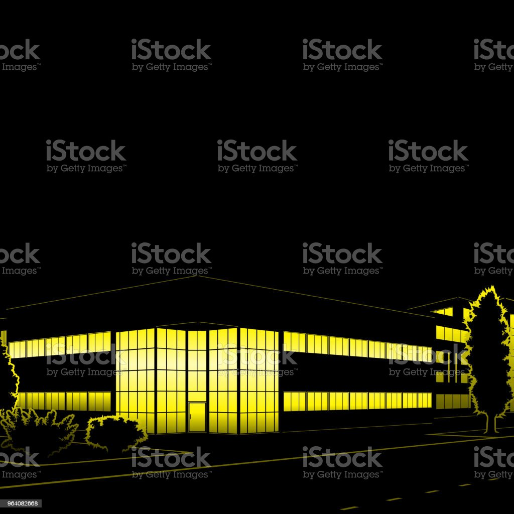 silhouette of buildings and streets at night - Royalty-free Architecture stock vector