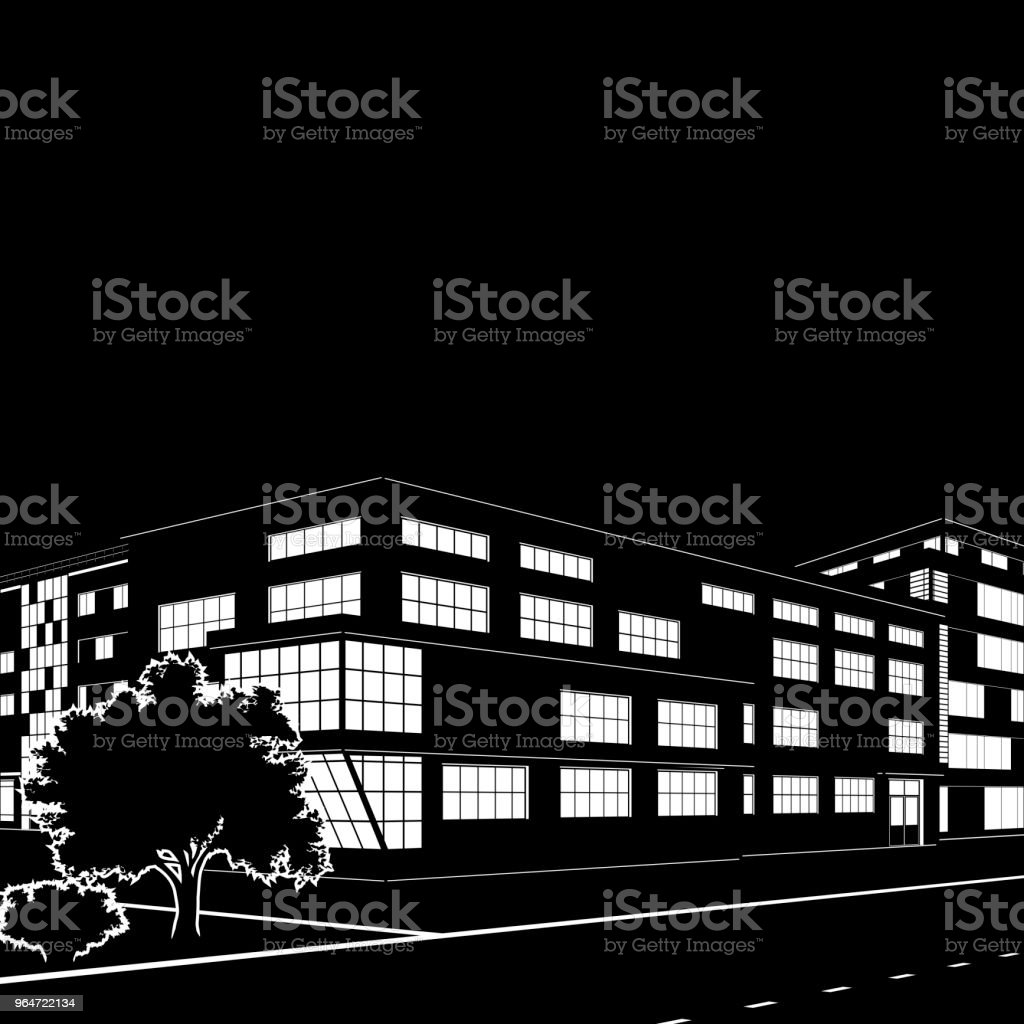 silhouette of buildings and streets at night royalty-free silhouette of buildings and streets at night stock vector art & more images of architecture