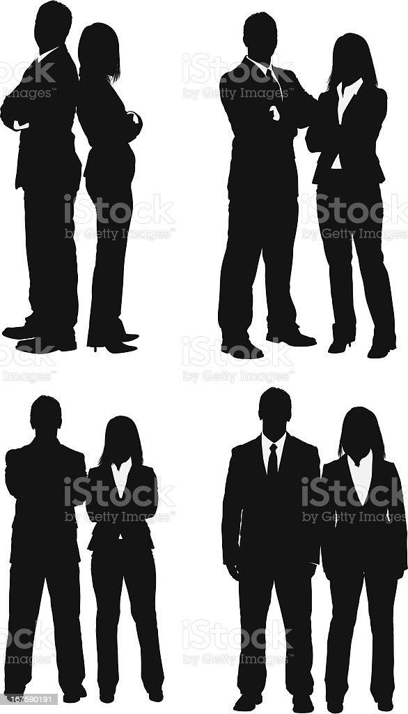 Silueta de pareja de negocios - ilustración de arte vectorial