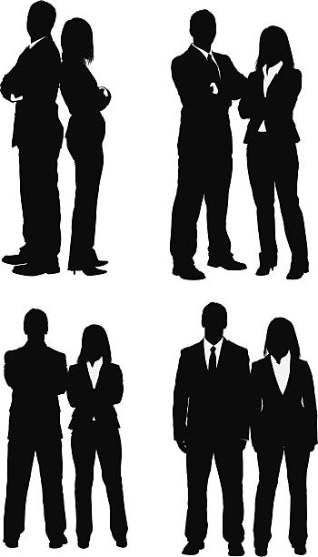 stockillustraties, clipart, cartoons en iconen met silhouette of business couple - overhemd en stropdas