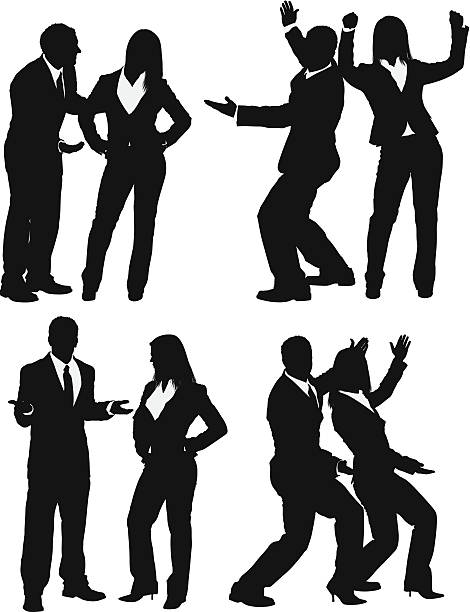 stockillustraties, clipart, cartoons en iconen met silhouette of business couples - overhemd en stropdas