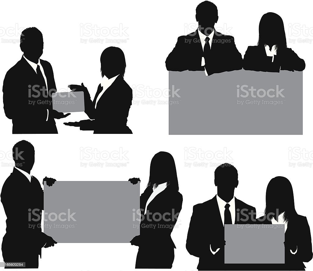 Silhouette of business couples with placards royalty-free stock vector art