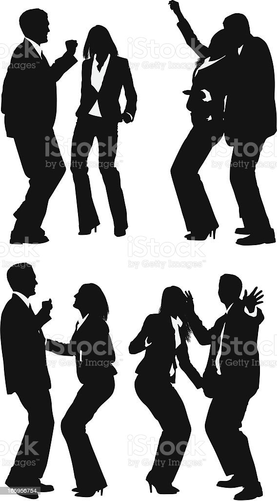 Silhouette of business executives dancing royalty-free stock vector art