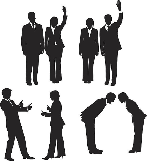stockillustraties, clipart, cartoons en iconen met silhouette of business executives greeting - overhemd en stropdas
