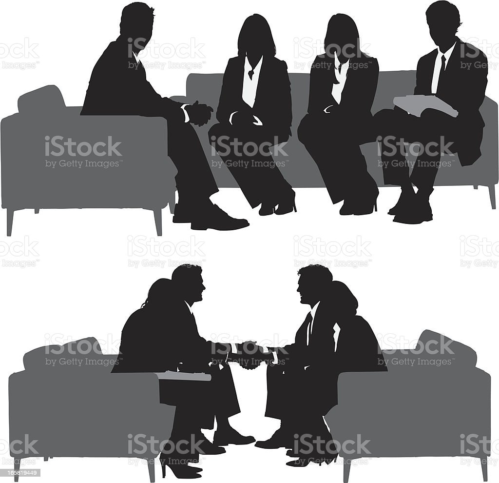 Silhouette of business executives in a meeting royalty-free silhouette of business executives in a meeting stock vector art & more images of adult