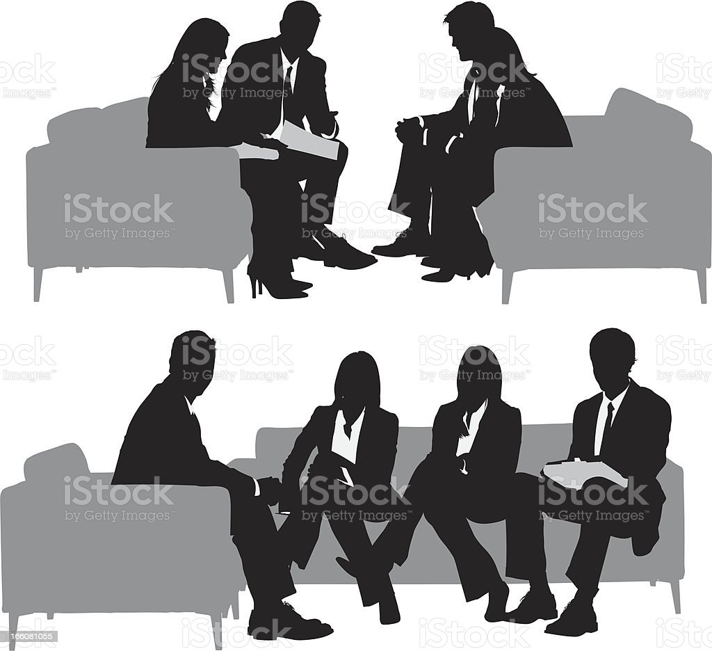 Silhouette of business executives in a meeting vector art illustration