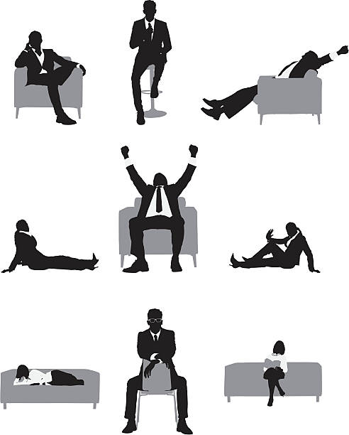 stockillustraties, clipart, cartoons en iconen met silhouette of business executives in different poses - overhemd en stropdas