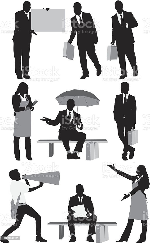 Silhouette of business executives in different poses royalty-free stock vector art