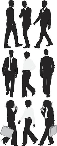 silhouette der business-manager in verschiedenen posen - elegante kleidung stock-grafiken, -clipart, -cartoons und -symbole