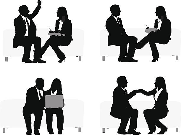 silhouette of business executives sitting on couch - two people talking stock illustrations, clip art, cartoons, & icons
