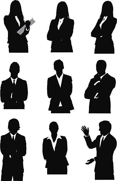 ilustrações, clipart, desenhos animados e ícones de silhueta de executivos - da cintura para cima