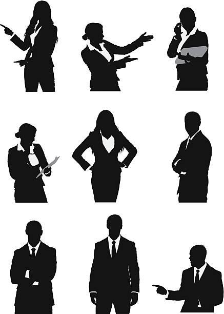ilustrações de stock, clip art, desenhos animados e ícones de silhueta de executivos de negócios - da cintura para cima