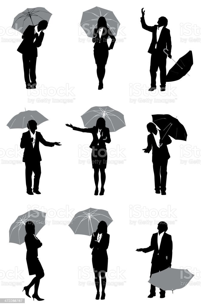 Silhouette of business executives with umbrellas vector art illustration