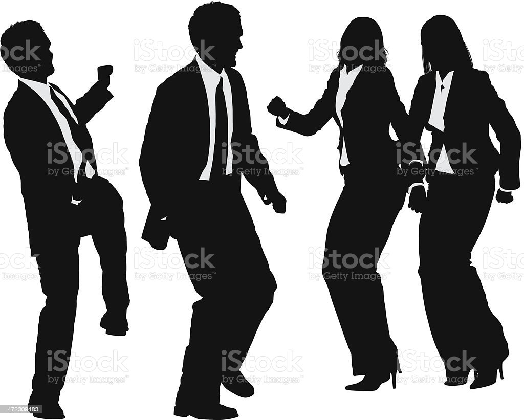 Silhouette of business people dancing royalty-free stock vector art