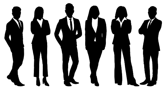 Silhouette of business people posing isolated on white