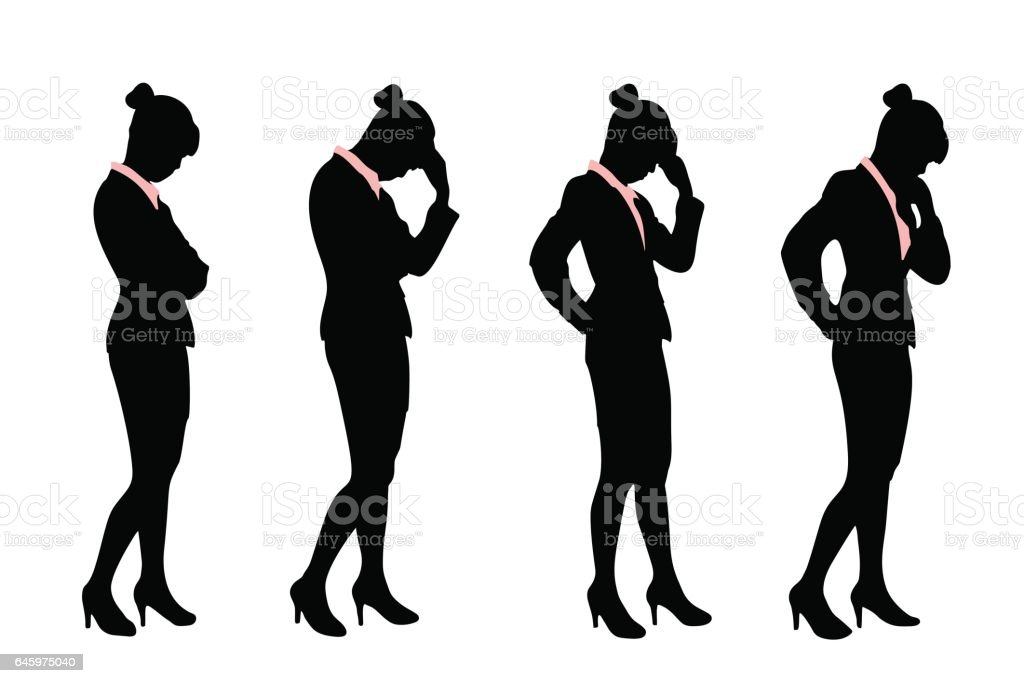 silhouette of business woman vector art illustration