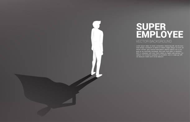 bildbanksillustrationer, clip art samt tecknat material och ikoner med silhuett av affärsman och hans skugga av superhjälte. - superhjälte isolated