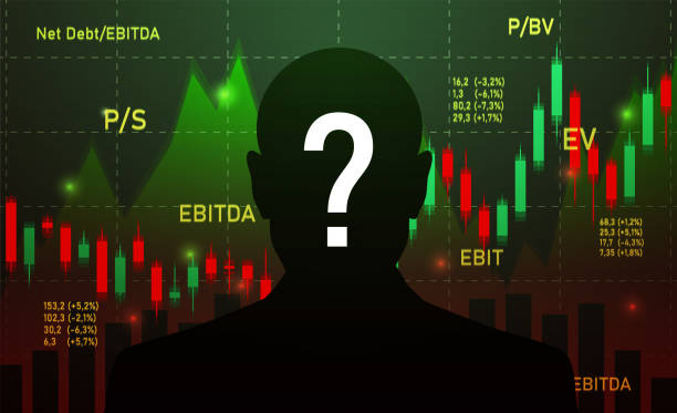 ilustraciones, imágenes clip art, dibujos animados e iconos de stock de silueta de empresario, inversor, analista o broker trading stocks con signo de interrogación sobre fondo oscuro - corredor de bolsa