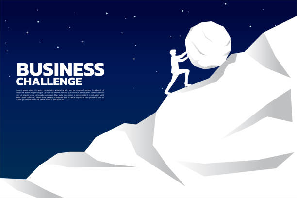 ilustrações de stock, clip art, desenhos animados e ícones de silhouette of businessman pushing the big rock to the top of mountain. - penedo