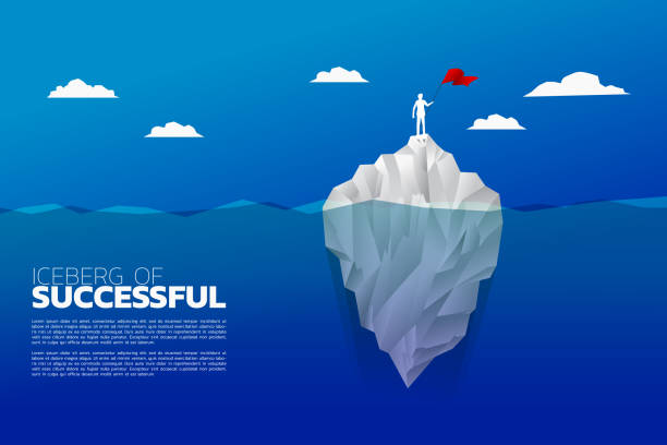 ilustrações de stock, clip art, desenhos animados e ícones de silhouette of businessman with flag standing on top of iceberg. - iceberg