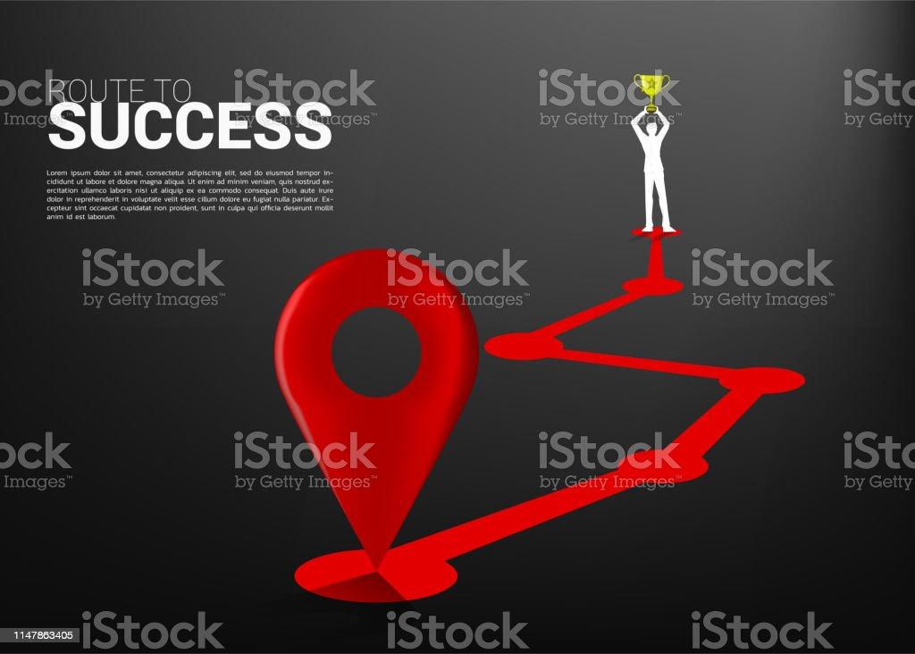 business concept of championship and route to success