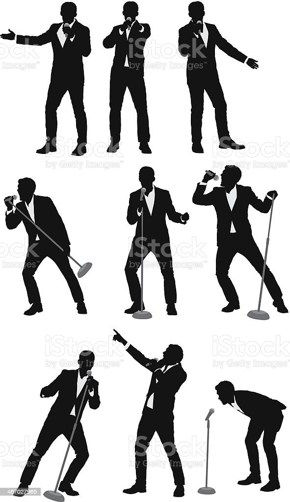 Silhouette of businessmen singing into microphones vector art illustration