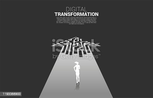concept of digital transformation of business.