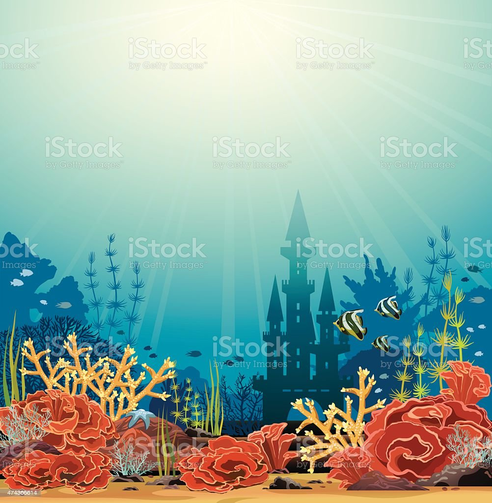 Silhouette of castle and coral reef. vector art illustration