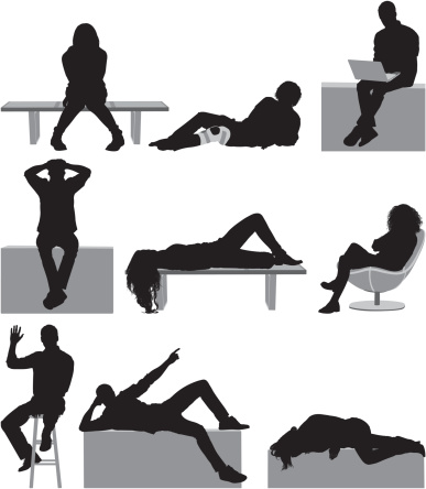 Silhouette of casual people in different poses