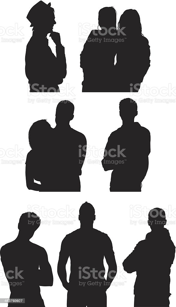 Silhouette of casual people posing vector art illustration