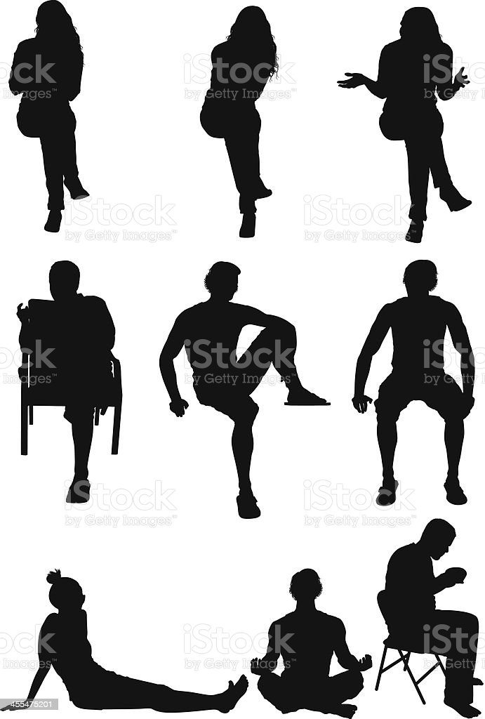 Silhouette of casual people vector art illustration