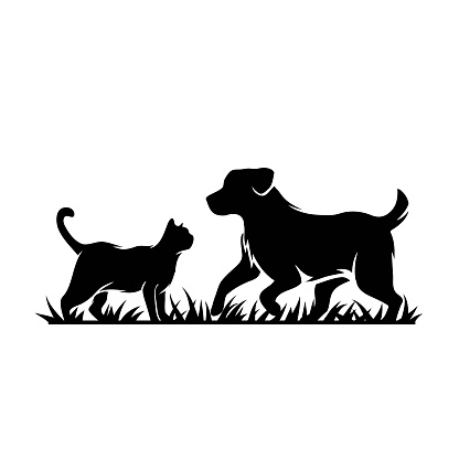 Silhouette of cat and dog