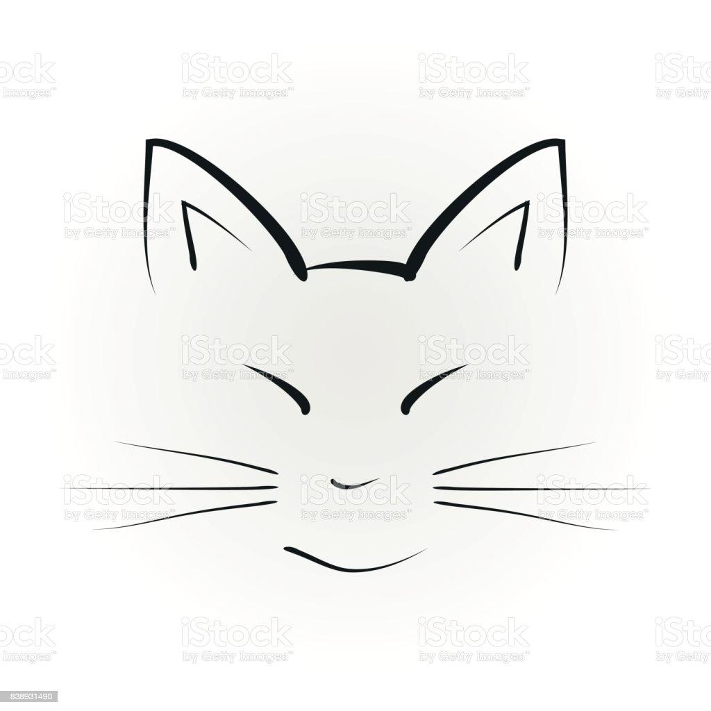 Koca Kulakli Kedi Yuz Silueti Elle Cizilmis Stok Vektor Sanati