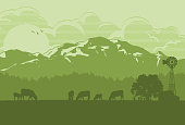 Silhouette of cattle in countryside, Vector Illustration