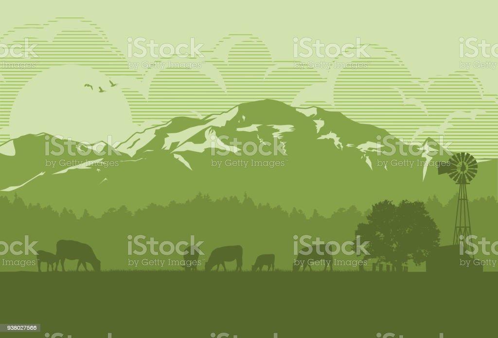 Silhouette de bovins dans la campagne, Illustration vectorielle - Illustration vectorielle