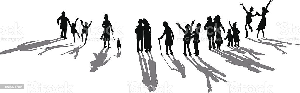 Silhouette of cheering crowd royalty-free stock vector art