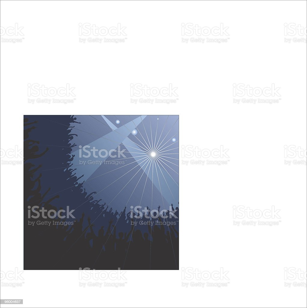 Silhouette of cheering fans at a concert royalty-free stock vector art