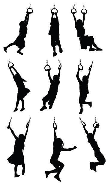 bildbanksillustrationer, clip art samt tecknat material och ikoner med silhouette of children hanging on gymnastic rings - chain studio
