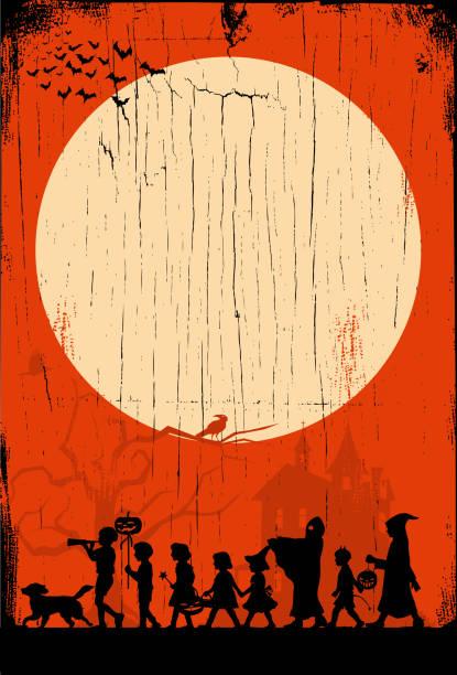 Silhouette of children playing on Halloween night, vector illustration EPS 10 light through trees stock illustrations