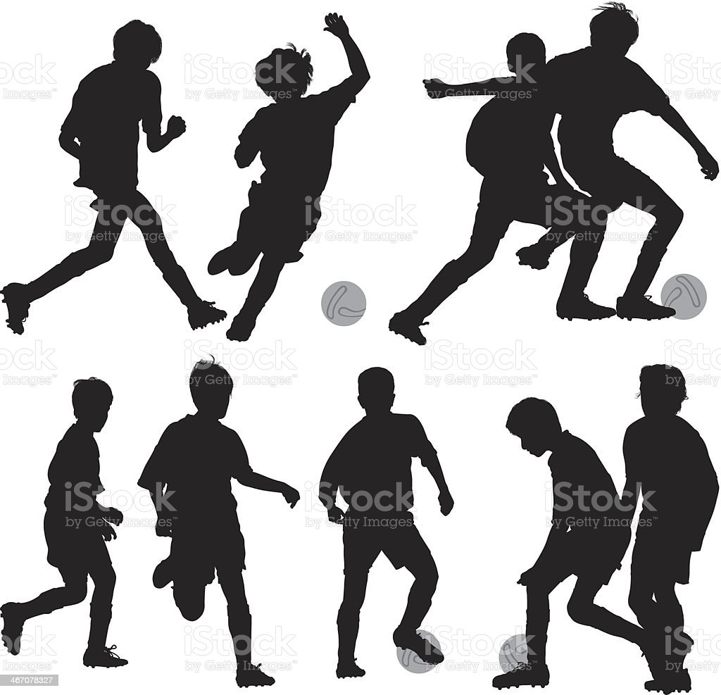 Silhouette of children playing soccer royalty-free stock vector art