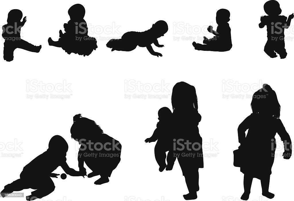 Silhouette of children vector art illustration