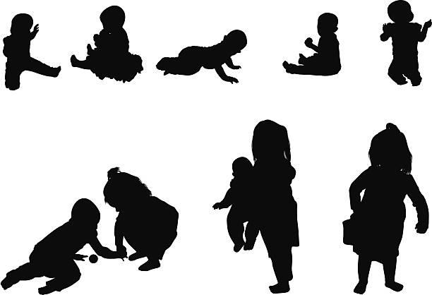 Silhouette of children Silhouette of childrenhttp://www.twodozendesign.info/i/1.png image technique stock illustrations