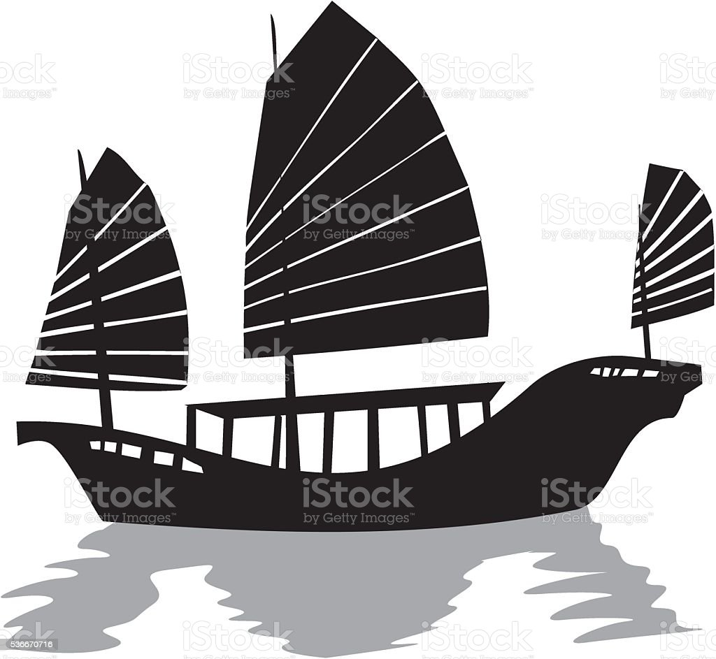 silhouette of chinese junk ship stock vector art more images of rh istockphoto com pirate ship silhouette vector navy ship silhouette vector