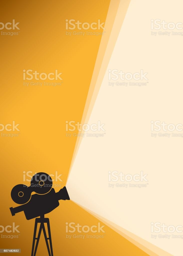 Silhouette of Cinema camera on yellow banner vector art illustration