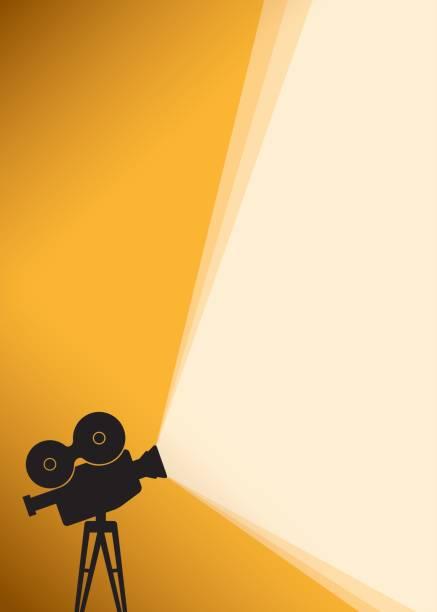 silhouette des kino-kamera auf gelbes banner - film stock-grafiken, -clipart, -cartoons und -symbole