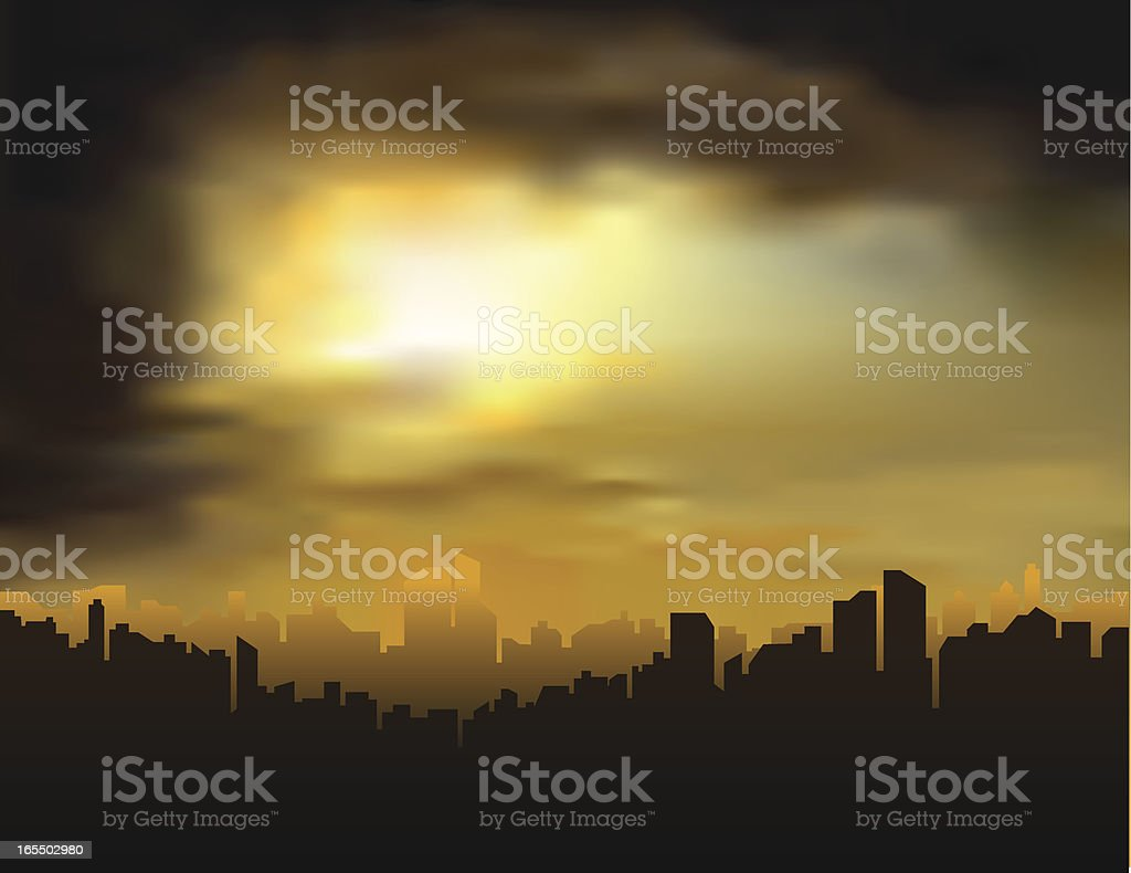 Silhouette of city skyline at dusk royalty-free stock vector art