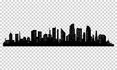 Silhouette of city with black color on white background.