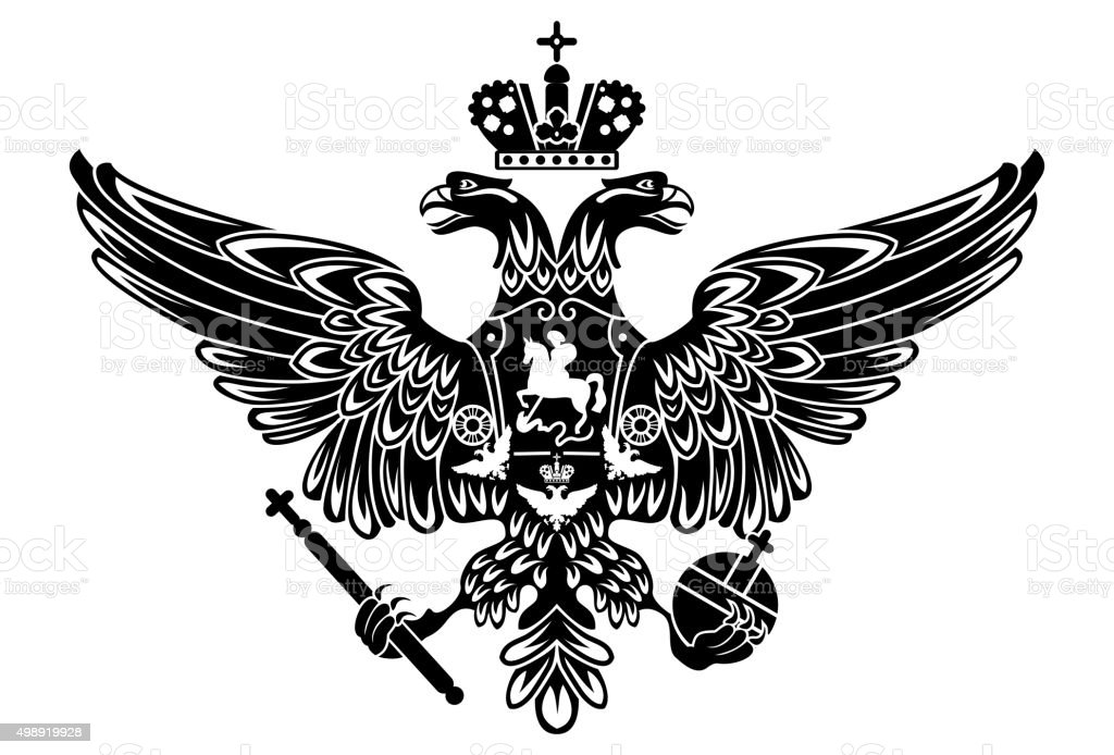 silhouette of coat of arms of russia russian empire vector art illustration
