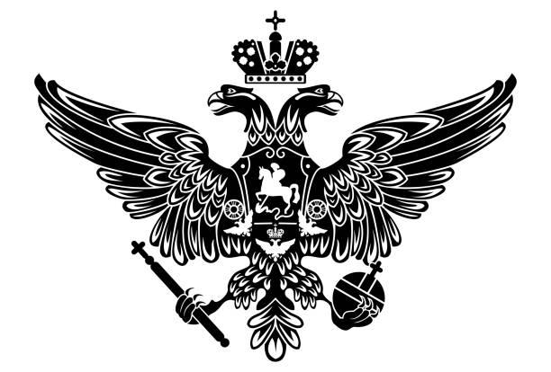 ilustraciones, imágenes clip art, dibujos animados e iconos de stock de silueta de escudo de armas de rusia, imperio ruso - rusia